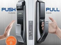 Samsung Digital Door Lock Fingerprint Push Pull Two Way Latch Mortise