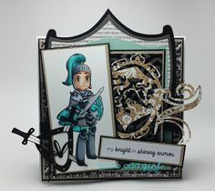 Here is my card with the new Knight Kody and Knight sentiments from Some Odd Girl! Was so fun to make! Knight In Shining Armor, Project Board, Copics, I Card, Stamp, Scrapbook, Art Journals, My Love, Projects