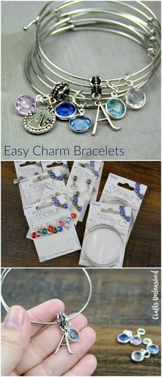 Personalize a stack of bangles for a friend (or for yourself!) in your favorite colors, your initials & more! These DIY charm bracelets are so easy to make!