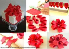 lazo triple fondant … – How to make a bow with ribbon - Hybrid Elektronike Fondant Bow Tutorial, Fondant Figures Tutorial, Fondant Tips, Fondant Rose, Fondant Icing, Chocolate Fondant, Fondant Toppers, Fondant Flowers, Fondant Cakes