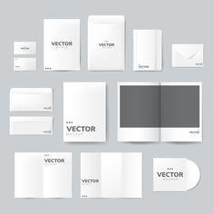 Set of printing material designs mockup vector Free Vector Material Design, Invitation Mockup, Photos Booth, Real Estate Flyer Template, Bi Fold Brochure, Letterhead Template, Creative Brochure, Business Card Mock Up, Printed Materials