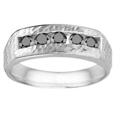 Sterling Silver Black Cubic Zirconia Men's Wedding Fashion Ring (Two Tone Sterling Silver, Size 11), Two-Tone