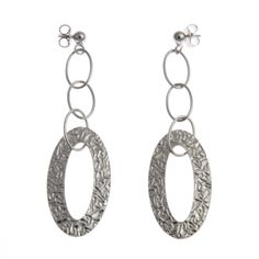 The aged effect on the metal of these gorgeous sterling silver earrings makes them look like they've been a trophy haggled for on a market in some far away place. Designed in England. Crafted in Italy Women's Earrings, Crochet Earrings, Sterling Silver Earrings, Personalized Items, Stylish, Metal, How To Make, England, Jewelry
