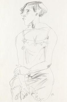 JEANNE MAMMEN  Sitzende Frau im Unterkleid von vorn.