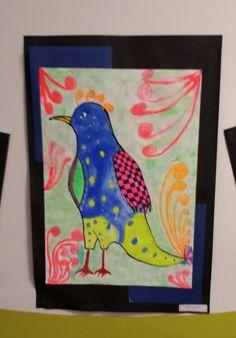 Water coloured black line detailed birds by grade six. Owls, Birds, Watercolor, Friends, Frame, Black, Home Decor, Art, Craft Art