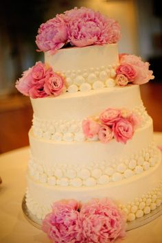 our wedding cake! Italian Cassata cake decorated with peonies