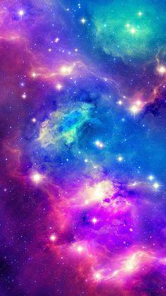 stars, purple , cyan ,pink, blue, red