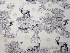 ROSE & HUBBLE COTTON FABRIC - CHRISTMAS REINDEER SCENE - Buy from WeaverDee.com Sewing & Craft