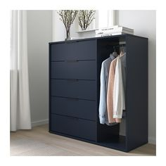 NORDMELA Chest of drawers with clothes rail, black-blue, cm. This clever piece with roomy drawers and a clothes rail accommodates both folded and hanging clothes. It takes up little space and is easy to place, whether in your bedroom or in the hallway. Clothes Rail Ikea, Clothes Drawer, Hanging Clothes, Black Chest Of Drawers, Bedroom Chest Of Drawers, Chest Drawers, Chest Of Drawers Design, Dresser In Closet, Storage Drawers