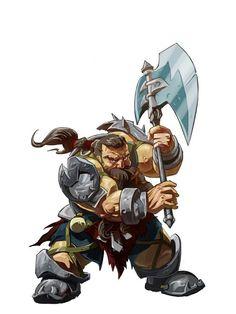 Dwarf Axe Fighter - Pathfinder PFRPG DND D&D d20 fantasy