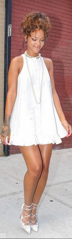 Rihanna, white dress, jewelry, and lace pumps