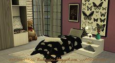 Black&white kids bedding set at Evey Sims via Sims 4 Updates
