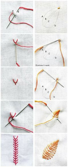 how to sew leaves