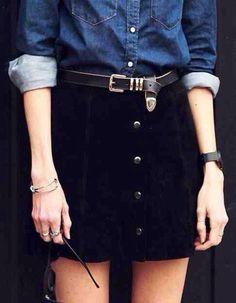 skirt black button down line a line a line skirt retro 90s style grunge goth…
