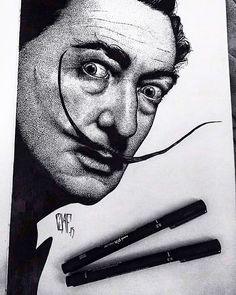 Salvador Dali - pointillism on Behance