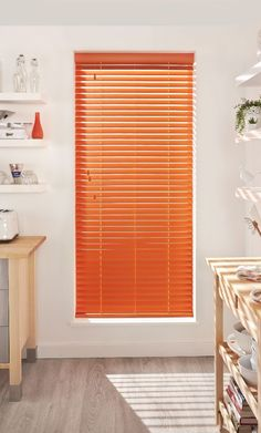Bring colour into your kitchen with bright coloured wooden blinds, pair with natural shades and neutral walls to create massive impact! Indoor Blinds, Diy Blinds, Fabric Blinds, Curtains With Blinds, Privacy Blinds, Patio Blinds, Blinds Ideas, Roman Blinds, Living Room Blinds