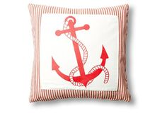 Anchor Rope 20x20 Cotton Pillow, Red