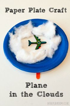 Paper plate plane craft with plane puppets