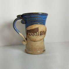 Stoneware Pottery Coffee Cup Real Life Blue Brown Tall Tea Mug 10 oz Ceramic Owl, Glazed Ceramic, Ceramic Clay, Stoneware Mugs, Coffee And Tea Accessories, Tea Mugs, Mug Cup, Pottery Art, Blue Brown