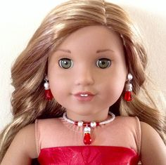 """Red tear-drop crystal and silver stardust bead choker, matching drop earrings and bracelet- Holiday jewelry set for American Girl/18"""" doll by BFFandMEJewelry on Etsy"""