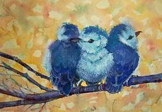 Three Bitty Birds by Marcie Hunter Watercolor ~  x
