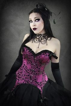 Magenta Pink Brocade Overbust Corset by Restyle
