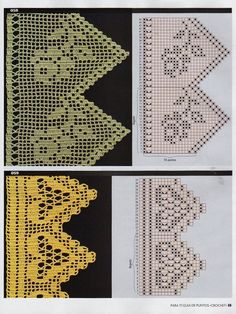 This is an interesting and nice stitch pattern: the Chevron Retro Stitch Wave Crochet pattern which I'm sure you guys would like to know how it is done. Filet Crochet Charts, Crochet Motifs, Crochet Borders, Crochet Diagram, Crochet Stitches Patterns, Thread Crochet, Crochet Designs, Crochet Doilies, Stitch Patterns