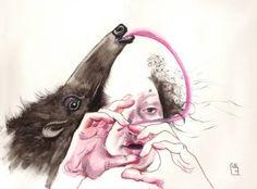 """Saatchi Art Artist Olga Gál; Painting, """"Selfie3 sins of the tong"""" #art"""