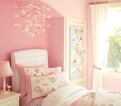 Pink Paper Butterfly Ceiling Mobile