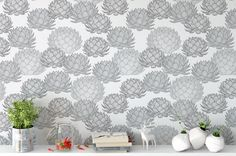 With soft shades of grey, Parry's Agave wallpaper by Patricia Braune will make any room a calm space. #surfacedesigner #interiordecor #bespokedecor #agave #blackandwhite #succulent