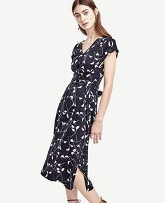 Image of Leaves Belted Cap Sleeve Dress