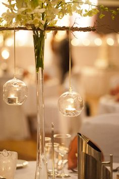 These hanging lights would be so pretty at an outdoor wedding reception.
