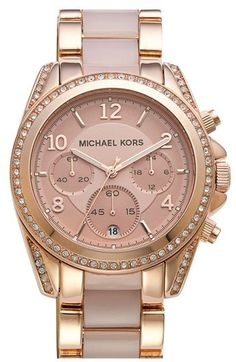 MICHAEL Michael Kors Michael Kors 'Blair' Crystal Bezel Two-Tone Bracelet Watch, 39mm, A beautiful rose-gold finish and blush-hued center links combine in this sophisticated bracelet watch topped with a round chronograph case traced in glimmering crystals.