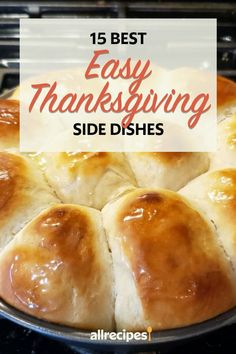 "15 Best Easy Thanksgiving Side Dishes | ""These side dishes have been highly rated by thousands of home cooks, and they require little prep work and few ingredients. Save your energy for the main event and give these easy sides a try. Read on for our 15 best easy Thanksgiving side dishes."" #thanksgiving #thankgivingrecipes #thanksgivingsidedishes Thanksgiving 2017, Thanksgiving Side Dishes, Thanksgiving Recipes, Perfect Mashed Potatoes, Candied Sweet Potatoes, Quick Yeast Rolls, Carrot Dishes, Lchf, Keto"
