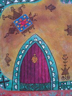 Motifs berbères Artiste, Peintre marocaine Professeur d'arts plastiques d'une école à Marrakech, Maroc Née: en Russie en 1967 Vit et travaille au  Maroc depuis 1992 - Lixow Art Marocain, Moroccan Art, Bottle Art, Art Plastique, Figure Drawing, Logo Inspiration, Folk, Deco, Canvas