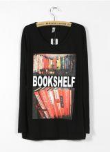 Black BOOKSHELF Print Long Sleeve T-shirt