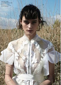 Sibui Nazarenko models sheer style for Elle Germany February 2016 by Thomas Krappitz - Moncler Gamme Rouge Moncler, White Fashion, Trendy Fashion, Fashion Editorial Nature, Fashion Details, Fashion Design, Space Fashion, Stylish Tops, Bridal Shoot