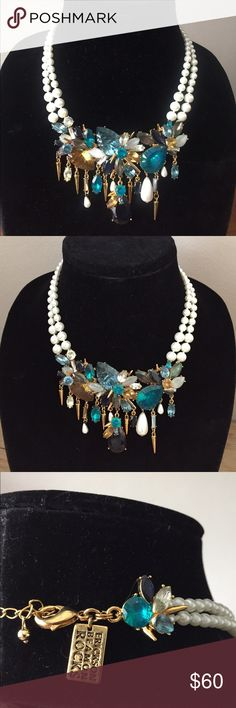 """🎉HP! Spectacular Statement Necklace! $194 retail! ERICKSON BEAMON Rocks Blondie Crystal Cluster Statement Necklace. $194 Retail. $203 on ebay! This absolutely stunning & dramatic necklace has the most beautiful colors: Teal, Navy, Green, Moonstone, Opal, Pearl, Citrine and reflects light gloriously! Made by celebrity designer ERICKSON BEAMON. (Rihanna, Lady Gaga, Gwyneth & more!) Front cluster of gems: 4.5"""" W x 3"""" H, 16"""" + 2"""" extension. Lobster claw closure. NWT & pouch. Erickson Beamon…"""