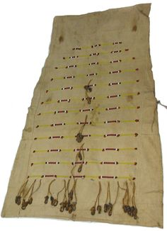 """tipi door- Plains- Cheyenne- Tsistsistas- glass beads- dew claws- tanned hide- cotton thread- dyed porcupine quills- dyed wool- commercial canvas- Darker colored commercial canvas cut into oversized triangle, machine finished on all edges. One (1) tanned hide tie on RF center, with a round tab on it. In center panel are 12 rows of horizontal beaded lines, graduated in length from top (12 ½"""") to fifth (24"""") from top, remaining are same length."""