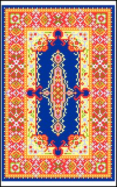 Blue Kirman Miniature Rug Pattern - designed for 18 mesh canvas or 18 count Aida