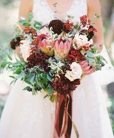 Burgundy protea bridal bouquet