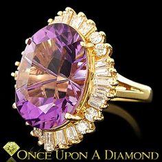 Certified 18K Yellow Gold 10 50ctw Fine Oval Amethyst Diamond Ballerina Ring | eBay