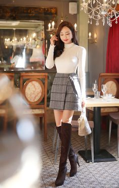 Check Print Pearl Accent D-Ring Mini Skort Korean Women's Fashion Shopping Mall, Styleonme. Korean Fashion Trends, Korean Street Fashion, Korea Fashion, Asian Fashion, Korean Women Fashion, London Fashion, Kpop Fashion Outfits, Ulzzang Fashion, Fashion Tips