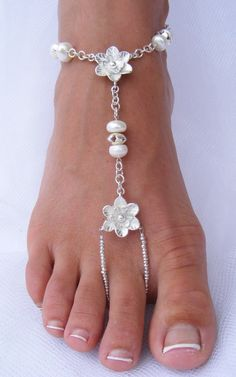 Silver Flower  & Pearl Barefoot Sandals  by PassionflowerJewelry