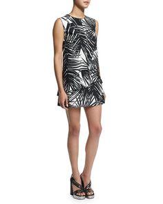 Sleeveless Palm-Print Mini Dress, Black by Marc Jacobs at Neiman Marcus.