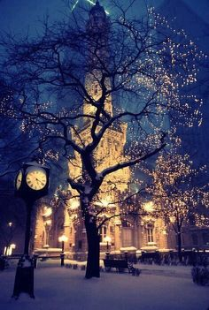 The lights, the snow on the clock, the snow covered tree, and just the winter ball feel.
