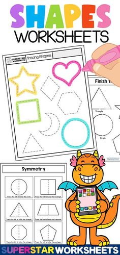 Free Shape Tracing Worksheets and activity pages for kids! These shapes worksheets are perfect for preschool and kindergarten students who are learning all about the different shapes. With our free printable shape tracing worksheets students will learn shape recognition, shape symmetry, tracing shapes, patterns and more!