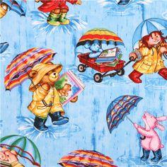 blue teddy bear rain fabric Timeless Treasures Corduroy