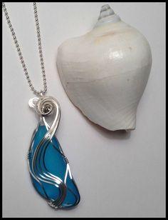 Turquoise Sea Glass Pendant