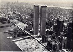 Aerial view of the unfinished towers few weeks before its dedication. View looking northeast. March 1973.